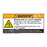 Warning/Shock & Arc Flash Label (H6643-1PWH)