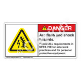 Danger/Arc Flash And Shock Label (H6643-262DH)