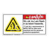 Danger/Shock And Arc Flash Label (H6643-263DH)