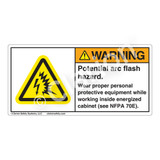Warning/Potential Arc Flash Label (H6643-718WH)