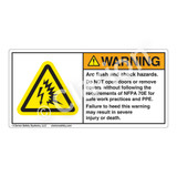 Warning/Arc Flash And Shock Label (H6643-T73WH)