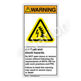 Warning/Arc Flash And Shock Label (H6643-T73WV)
