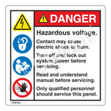 Danger/Hazardous Voltage Label (HMS-233DHP-)