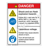 Danger/Shock and Arc Flash Label (HMS4-586DVP-)