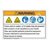 Warning/Toxic And Corrosive Chemicals Label (HMS-FY2WHP-)