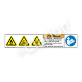 Warning/Flammable, Corrosive and Toxic Label (HMS-NRWHP-)