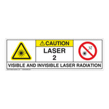 Caution/Visible & Invis Laser Radiation Class 2Label (IEC2009-)