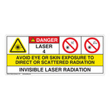 Danger/Invisible Laser Radiation Class 4 Label (IEC4005-H)