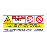 Danger/Visible & Invis Laser Radiation Class 4Label (IEC4006-)