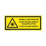 Invisible Laser Radiation Class 1M Label (IEC-6003-E88-H)