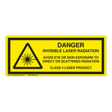 Danger/Invisible Laser Radiation Class 4 Label (IEC-6003-E94-H)