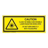 Caution Visible And Invisible Class 1M Label (IEC-6003-F20-H)