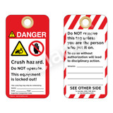Danger/Crush Hazard - Chain Drive Tag (ST1014a-1)