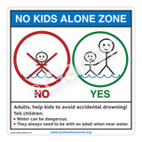No Kids Alone Zone Sign (WSS1050-2b-e) )