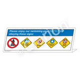 5-Placard/Please Enjoy Our Swimming Sign (WSS1781-39g-e) )