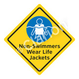 Non-Swimmers Wear Life Jackets Sign (WSS2105-02a-e) )