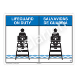 Lifeguard on Duty Sign (WSS2152-04b-esm) )