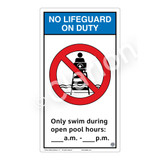 No Lifeguard on Duty/Only Swim During Sign (WSS2153-40b-e) )
