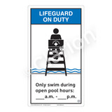 Lifeguard on Duty/Only Swim During Sign (WSS2154-40b-e) )