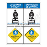 Lifeguard on Duty/Watch Your Children Sign (WSS2206-06b-esm) )