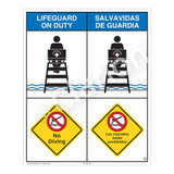 Lifeguard on Duty/No Diving Sign (WSS2207-06b-esm) )