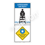 Lifeguard on Duty/Non-Swimmers Wear Sign (WSS2209-05b-e))