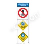 No Lifeguard on Duty/Watch Your Children Sign (WSS2303-07b-e) )