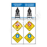 Lifeguard on Duty/No Diving Sign (WSS2314-08b-esm) )