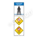 Lifeguard on Duty/No Diving Sign (WSS2315-07b-e) )