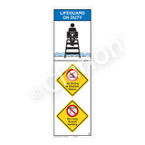Lifeguard on Duty/No Diving in Shallow Water Sign (WSS2317-07b-e) )