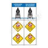 Lifeguard on Duty/No Diving Shallow WaterSign (WSS2317-08b-esm))