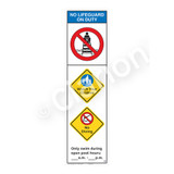 No Lifeguard on Duty/Watch Your Children Sign (WSS2351-44b-e) )
