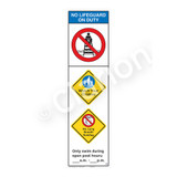 No Lifeguard on Duty/Watch Your Children Sign (WSS2354-44b-e) )