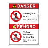 Danger/No Lifeguard on Duty Sign (WSS3101-16a-esm) )