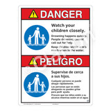 Danger/Watch Your Children Sign (WSS3102-16b-esm) )