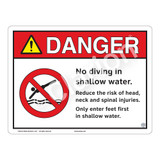 Danger/No Diving in Shallow Water Sign (WSS3104-13b-e) )