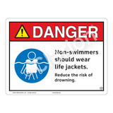 Danger/Non-Swimmers Wear Life Jackets Sign (WSS3105-13b-e) )