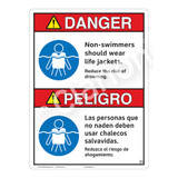 Danger/Non-Swimmers Wear Life Jackets Sign (WSS3105-16b-esm) )