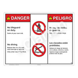 Danger/No Lifeguard on Duty Sign (WSS3202-20b-esm) )