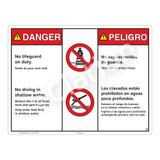 Danger/No Lifeguard on Duty Sign (WSS3203-20b-esm) )