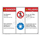 Danger/No Lifeguard on Duty Sign (WSS3204-20b-esm) )