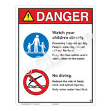 Danger/Watch Your Children Sign (WSS3206-19b-e) )