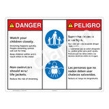 Danger/Watch Your Children Sign (WSS3208-20b-esm) )