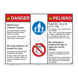 Danger/Watch Your Children Sign (WSS3209-20b-esm) )