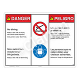 Danger/No Diving Sign (WSS3210-20b-esm) )