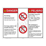 Danger/No Diving Sign (WSS3211-20b-esm) )