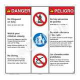 Danger/No Lifeguard on Duty Sign (WSS3301-24b-esm) )