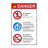 Danger/No Lifeguard on Duty Sign (WSS3302-23b-e) )