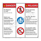 Danger/No Lifeguard on Duty Sign (WSS3302-24b-esm) )