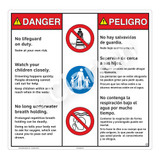 Danger/No Lifeguard on Duty Sign (WSS3304-24b-esm) )